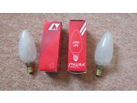 Aura Long Life 40 Watt Matt E-14 Screw Fitting Light Bulbs