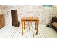 Extending Rustic Farmhouse Kitchen Dining Table - Space Saving Design Petite Turned Leg
