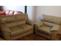 Grey REAL Leather suite (2+1) - Delivery available