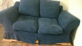sofa in good condition, 2 seater, dark blue & 2 chairs