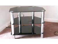TELEVISION STAND dark glass and chrome
