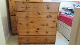 Solid pine drawers, 5 deep, split drawers at the top.