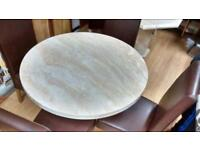 Engineered round marble dining table and chairs
