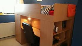 Childs Single High Sleeper single bed (with desk, office chair, mini wardrobe, bookshelf & mattress)