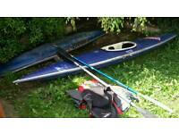 2x kayak, paddle, life jacket and 1x splashdeck
