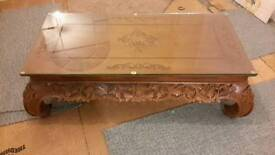 Coffee Table Hand Carved Solid Teak