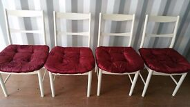 4 MATCHING SHABBY CHIC CHAIRS FOR SALE.