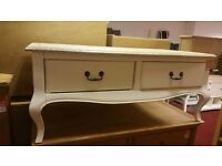 2 drawer coffee table - cream with wooden top