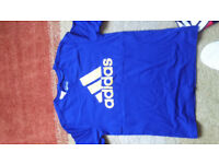 Adidas tshirt - bright blue and yellow - age 11-12
