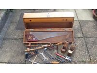 Wooden Cabinet Makers Tool Box / Chest including assorted tools.