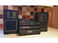 1980's Trio Midi M-3S Stereo System with turntable and speakers