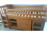Julian Bowen Mid Sleeper Bed with Cupboard, Shelves & Desk