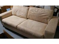 Comfy cream suede sofas