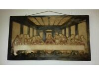 Vintage plaster painting 'The Last Supper'