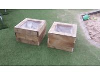 Pair of medium garden planters / plant pots - upcycled pallets
