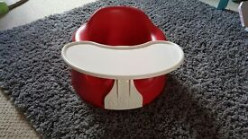Bumbo seat and tray in red