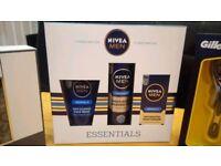 Nivea essential mens gift set - face wash- shaving gel- moisturiser