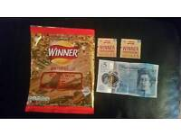 Walkers winning packet with winning cards and the 5 pound note