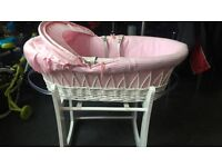 Baby girl pink Moses basket and stand