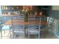 Oak refectory Dining table & 6 Chairs