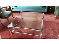 pair of large square glass (2 levels) and metal coffee tables