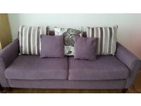 Purple 3 seater settee with matching cushions