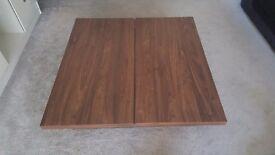Wood grain coffee table.