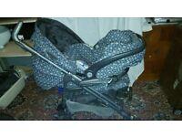 Mama and Papas Pliko Pramette pushchair with car seat
