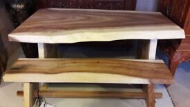 Solidwood dining table and one bench