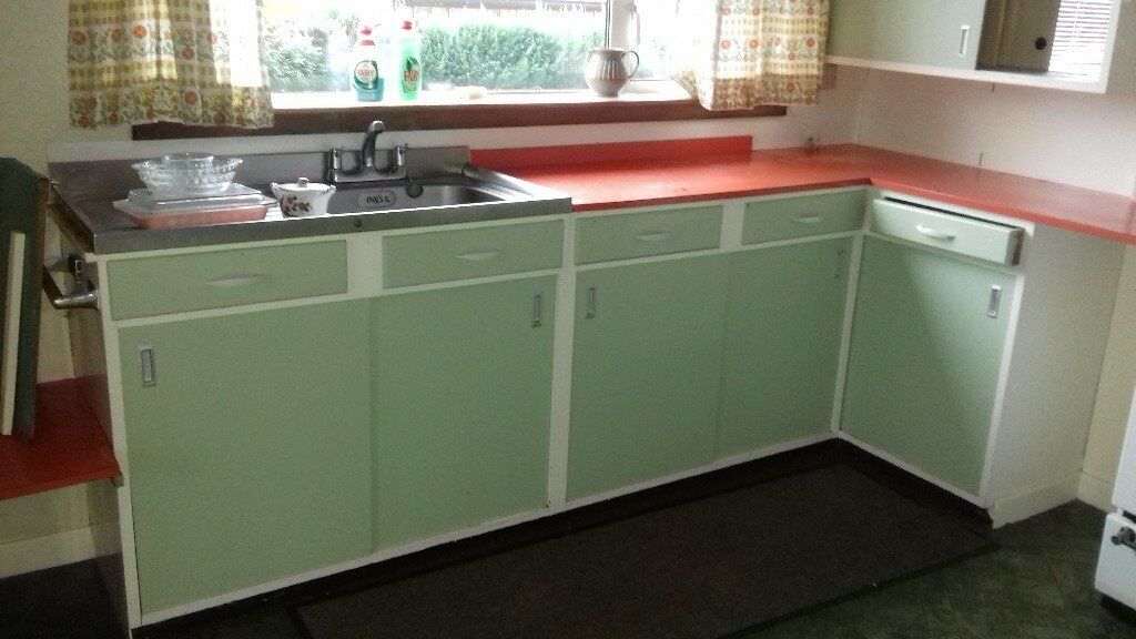 green kitchen worktop retro 1960 s kitchen units green with orange formica 1455