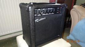 Rockburn 15 watts practise amp. Clean and gain settings. Headphone jack.