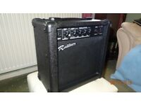 Rockburn 15 watts practise amp. Clean and gain settings. Headphone jack.