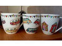 3 beautiful colourful Caravan Trail mugs new with tags, campervan, caravan and beach huts, bunting