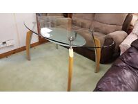 Modern Glass Top Dining Table With Oak Legs in Great Condition