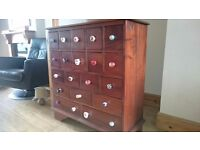 Ancient mariner mahogony village apothecary chest/ drawers