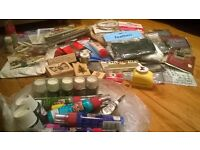 Box of assorted art and craft materials and equipment - over 80 items