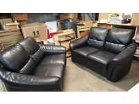 2 leather sofas for sale. 2 seater. Black