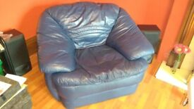 Contemporary Navy Leather Armchair