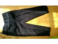 black linen cropped trousers from NEXT in size 12