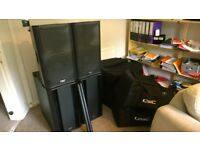 2X QSC K12's & 2X QSC KSUB's SPEAKERS (with poles cables & like subsafe bassbin covers)
