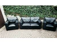 Leather suite sofa plus 2 chair's in black vgc