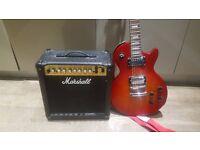 Epiphone Les Paul Studio guitar, 15 watt Marshall amp, very good condition