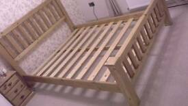 Solid pine wood kingsize bed frame and mattress