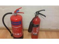 Two new fire extinguishers co2 and powder