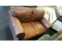 2 seater real brown leather sofa