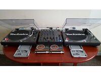 Technics sl1210's pair with mixer & extras