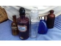 5 Collectable vintage glass chemist bottles, in pink, blue, brown and clear glass, v good condition