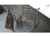 2 iron & rope bedside tables