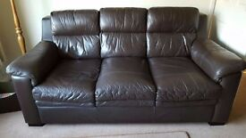 3 Seater Brown Leather Sofa & Chair