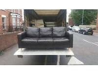 Cube arm Brown 3 seater leather sofa